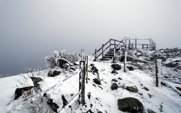 Фото обои зима, снег, гора, ступени