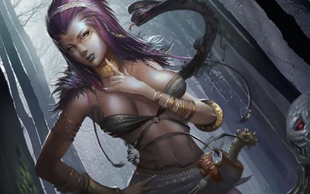 Фото обои взгляд, девушка, туман, змея, жеревья