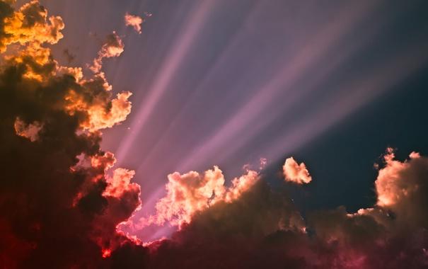 Фото обои небо, солнце, облака, лучи, свет, надежда