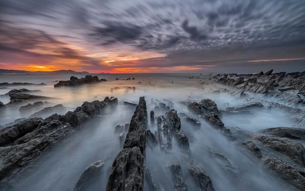 Фото обои море, пляж, скалы, выдержка, Испания, страна Басков, Meñakoz