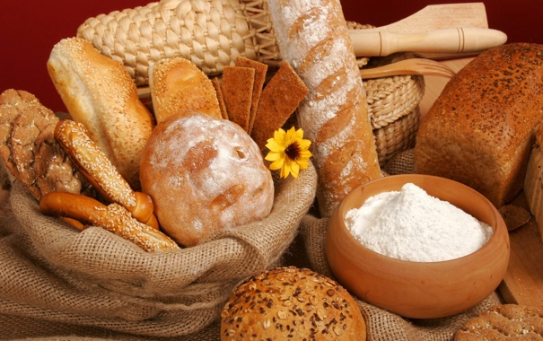 Фото обои цветок, хлеб, булка, мука, корзины, батон