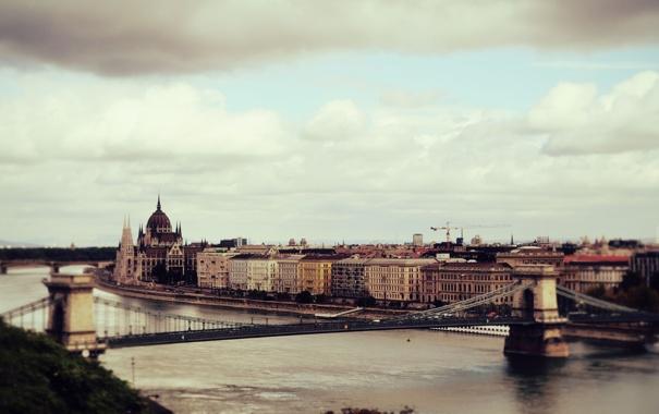 Фото обои небо, облака, мост, город, река, дома