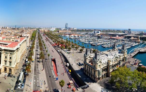 Фото обои дорога, пальмы, дома, лодки, Испания, набережная, улицы