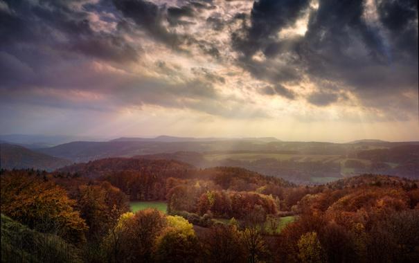 Фото обои осень, небо, свет, сказка, долина