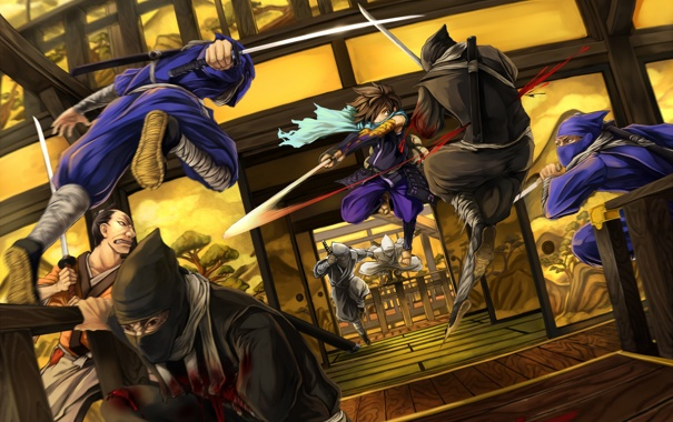 Фото обои движение, кровь, катана, битва, парень, ниндзя, kisuke