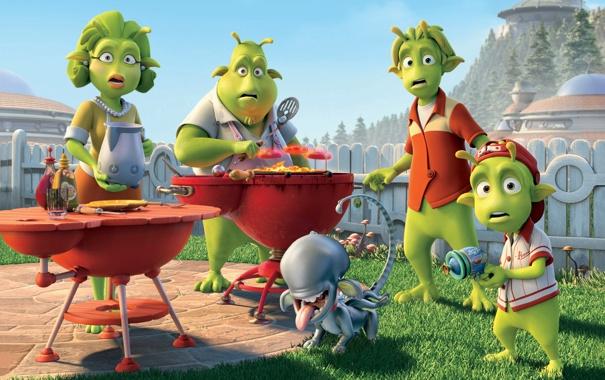 Фото обои пришельцы, инопланетяне, гриль, Planet 51, зеленые человечки, собака чужой, Планета 51