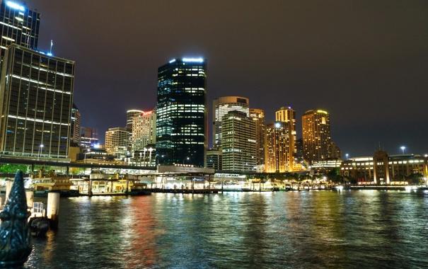 Фото обои ночь, огни, берег, дома, небоскребы, Австралия, фонари