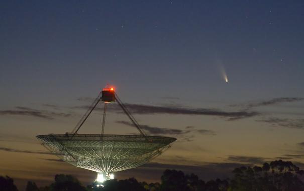 Фото обои небо, огни, комета, телескоп