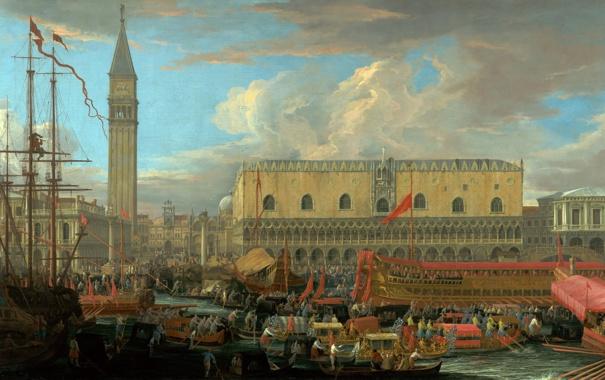 Фото обои люди, башня, корабли, картина, венеция, дворец дожей, Карлеварис Лука