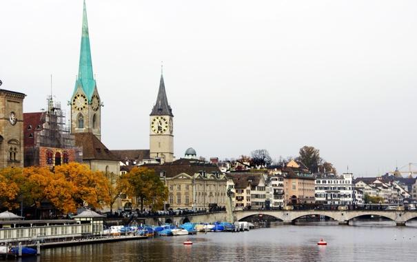 Фото обои мост, река, дома, Швейцария, Switzerland, Цюрих, архитектура.