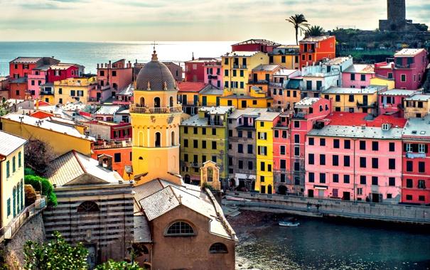 Фото обои море, краски, башня, дома, Италия