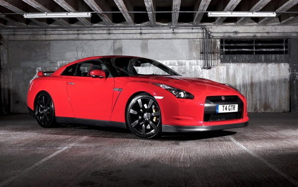 Фото обои car, nissan, GTR, black-red