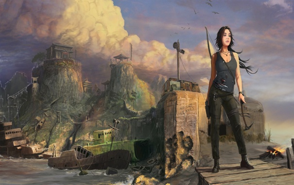 Фото обои корабли, развалины, Tomb Raider, Лара Крофт, Lara Croft