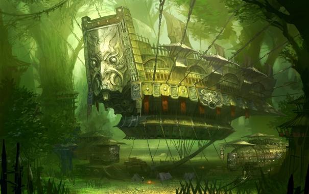 Фото обои лес, человек, корабль, костер, цепи, blade and soul