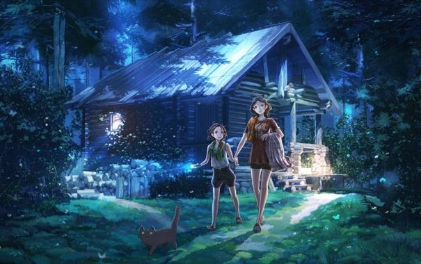 Фото обои лес, девушка, арт, девочка, домик