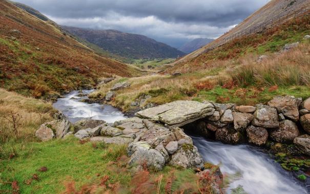 Фото обои камни, река, трава, небо, ручей, склон, мостик