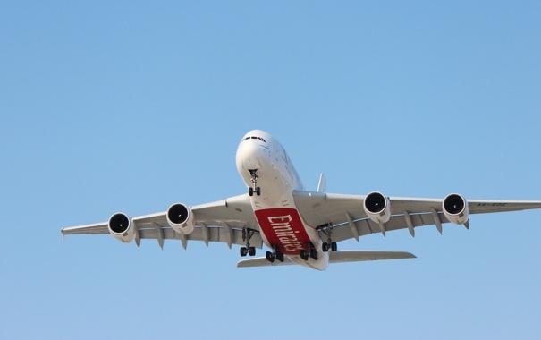 Фото обои Небо, Самолет, День, Авиация, A380, Airbus, В Воздухе