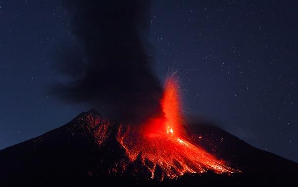 Фото обои пепел, огонь, стихия, дым, вулкан, лава, Сакурадзима