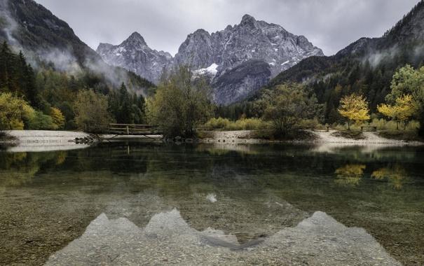 Фото обои пейзаж, горы, мост, озеро