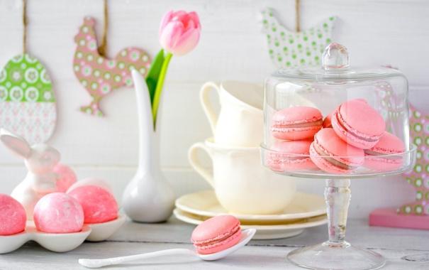 Фото обои праздник, тюльпан, печенье, Пасха, ваза, крем, сладкое