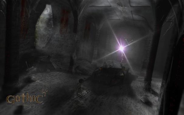Фото обои скелет, склеп, мрачный, arcania, gothic 4
