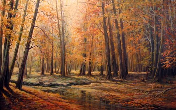 Фото обои Autumn, River, Trees, Leaves