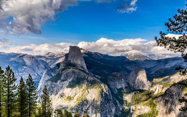 Фото обои лес, горы, природа, Glacier Point, yosemite