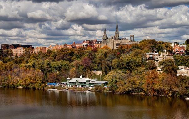 Фото обои осень, небо, деревья, природа, река, Вашингтон, США