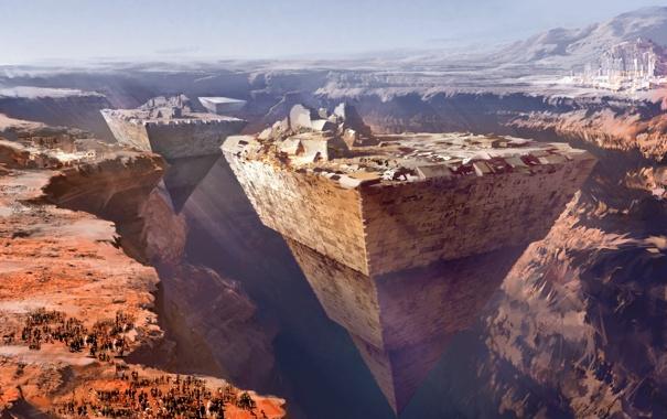 Фото обои горы, люди, фантастика, каньон, пирамиды, daniel dociu