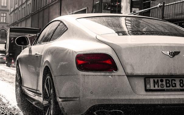Фото обои city, Bentley, Continental, white, splash, back, dirty