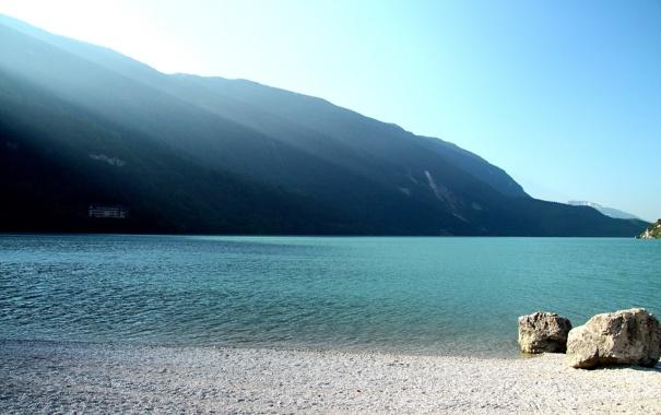 Фото обои вода, горы, камни, фото, берег, пейзажи