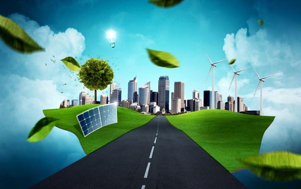 Фото обои дорога, листья, облака, город, креатив, дерево, разметка