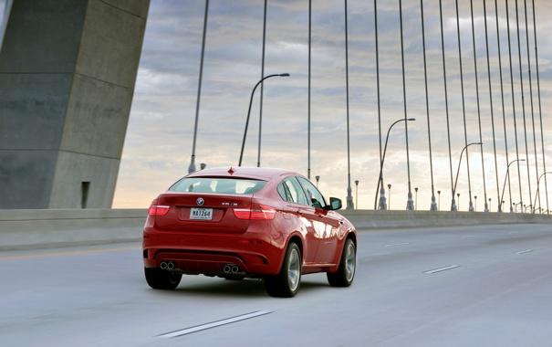 Фото обои Красный, Мост, BMW, БМВ, Джип, В Движении