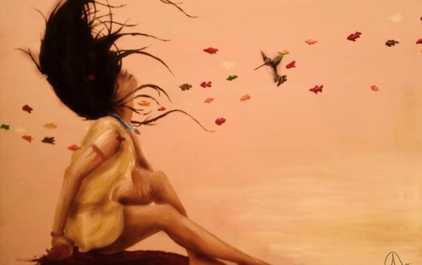 Фото обои листья, девушка, поза, фон, волосы, платье, профиль