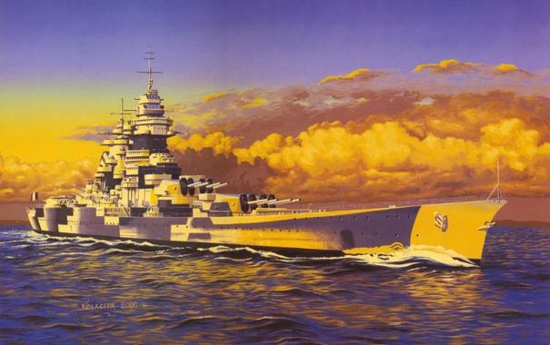Фото обои море, волны, война, рисунок, корабль, арт, WW2