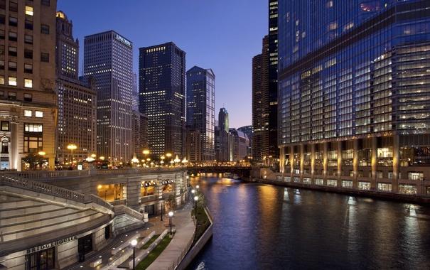 Фото обои ночь, мост, огни, река, улица, дома, Chicago