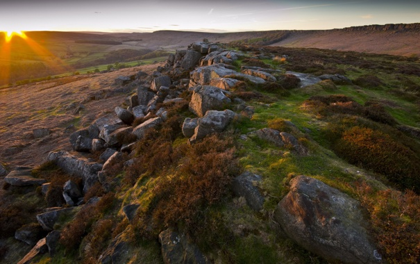 Фото обои пейзаж, закат, природа, камни