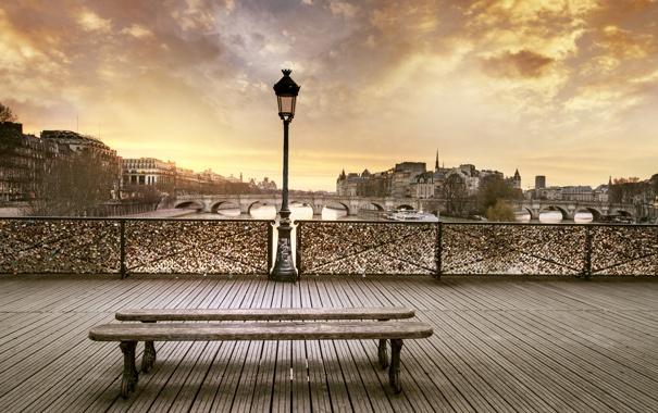 Фото обои закат, набережная, лавочка, вечер, Paris, город, France