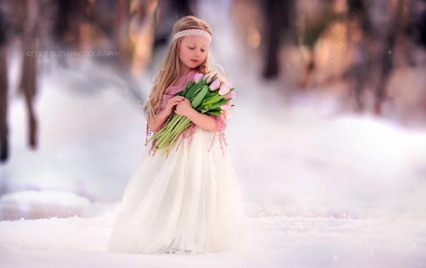 Фото обои цветы, фон, девочка