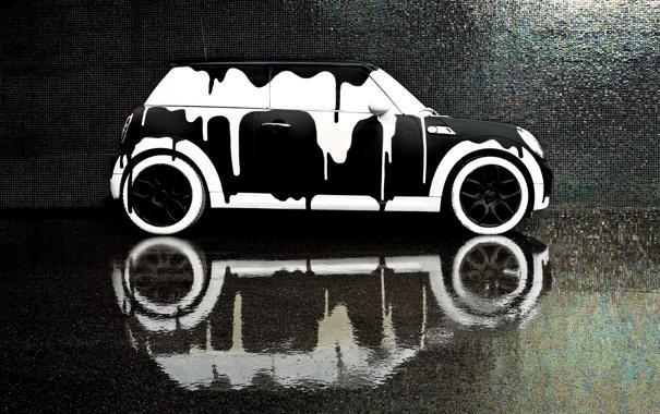 Фото обои белый, вода, отражение, фон, чёрный, краска, подтёки