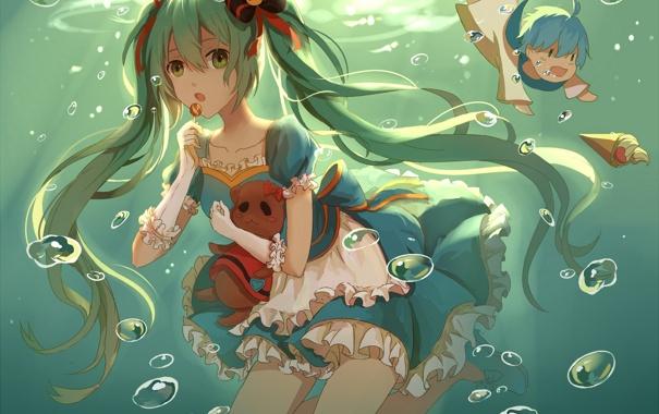 Фото обои девушка, пузыри, аниме, арт, парень, vocaloid, под водой