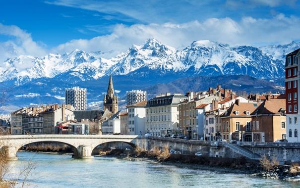 Фото обои облака, снег, пейзаж, горы, мост, река, Франция