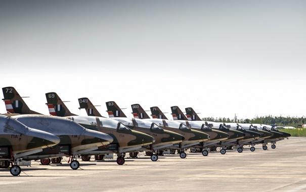 Фото обои аэродром, North American, T-2 Buckeye, учебныё самолёты
