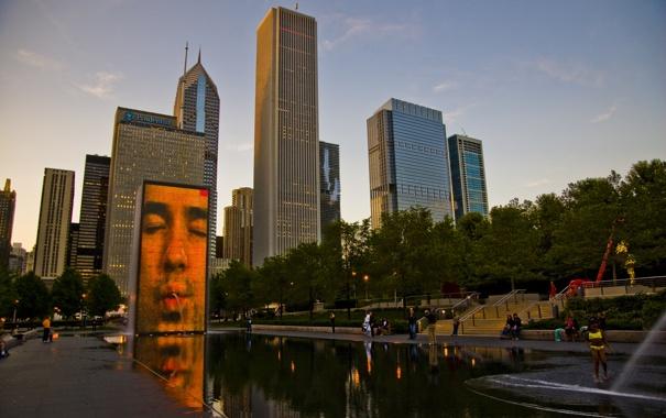 Фото обои небо, парк, здания, небоскребы, вечер, америка, чикаго