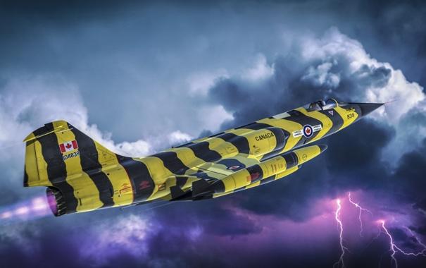 Фото обои небо, авиация, молнии, истребитель, Канада, самолёт, ВВС