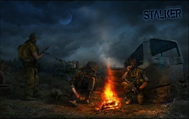 Фото обои ночь, солдаты, трактор, автобус, Stalker, зона