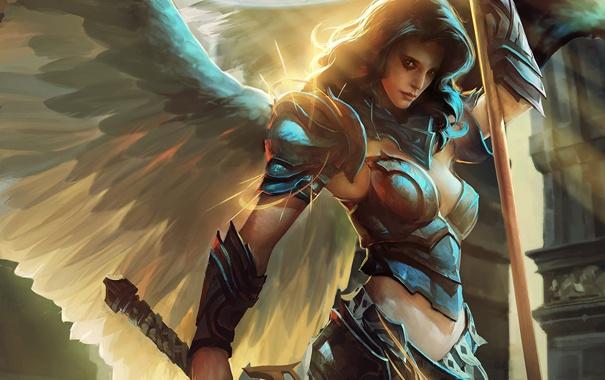 Фото обои свет, Девушка, крылья, доспехи