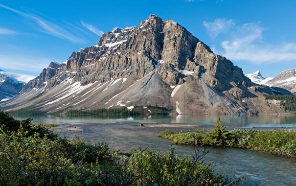 Фото обои пейзаж, горы, природа, скала, озеро, берег, Канада