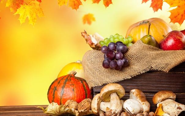 Фото обои осень, листья, яблоки, грибы, урожай, виноград, тыквы