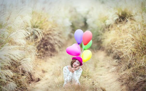 Фото обои девушка, взгляд, шары